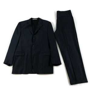 Burberry Navy Pinstripe 100% Worsted Wool Suit